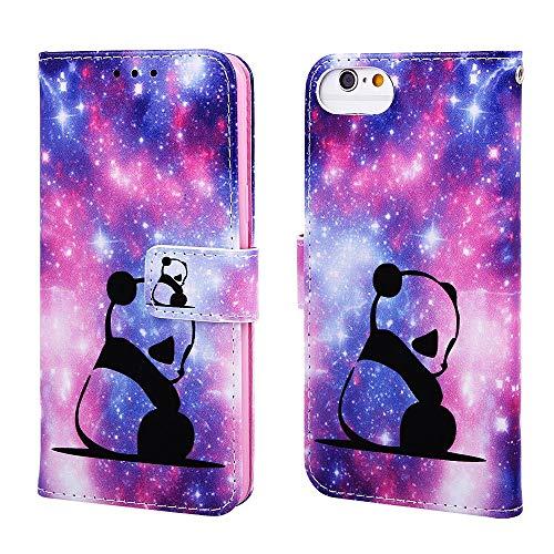 Nadoli Leder Hülle für iPhone SE 2020,Bunt Himmel Panda Malerei Ultra Dünne Magnetverschluss Standfunktion Handyhülle Tasche Brieftasche Etui Schutzhülle