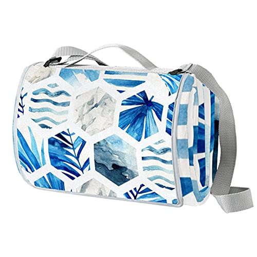 Manta de picnic portátil de 57 x 59 pulgadas impermeable picnic Mat para playa, camping, césped, música Festival Geometría azul