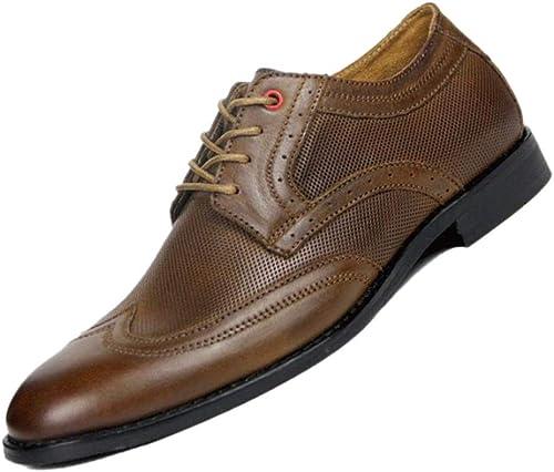 zmlsc Spitz Derby Blau Braun Braun Braun Herren-Business-Schuhe England Gentleman Weißhes Leder Weißher Po Party Retro  Verkauf Online-Rabatt