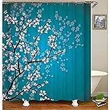 HULUYAO Duschvorhang Top Qualität Wasserdicht, Anti-Schimmel-Effekt 3D Digitaldruck mit 12 Haken für Badezimmer Pfirsichblüten-Duschvorhang/180 * 180CM