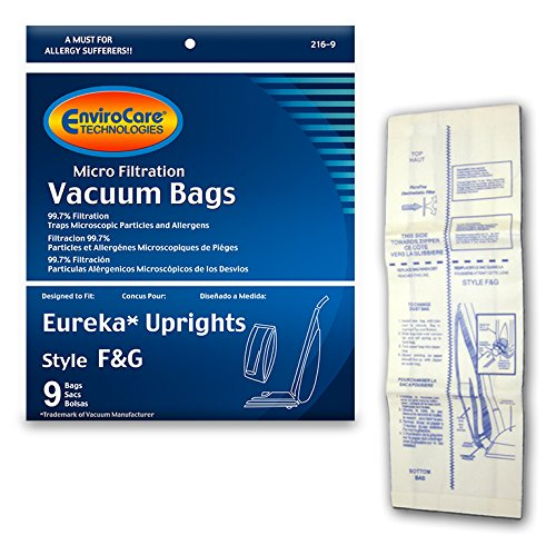 EnviroCare Replacement Micro Filtration Vacuum Cleaner Bags Made to fit Eureka F&G Sanitaire, Kenmore 5062, White Westinghouse, Koblenz, Singer SUB-1, Commercial 9 Pack