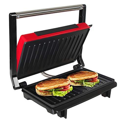 OZAVO Panini Maker/Griglia, Tostiera,Pressa a sandwich, Griglia elettrica, 750 Watt,Grill a Contatto 2 in 1, Tostapane, Grill da Tavolo Elettrico Piastre antiaderent