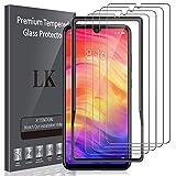LK Compatible con Xiaomi Redmi Note 7 / Redmi Note 7 Pro Protector de Pantalla,4 Pack,9H Dureza Cristal Templado, Equipado con Marco de Posicionamiento,Vidrio Templado Screen Protector,LK-X-37