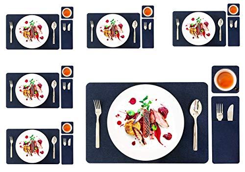 GlobalDream Manteles Individuales de Fieltro, 6 Piezas Fieltro Salvamanteles con 6 Piezas Fieltro Posavasos 6 Piezas Fieltro Bolsas de Cubiertos para Mesa de Comedor Kitchen Placemat, Azul Oscuro