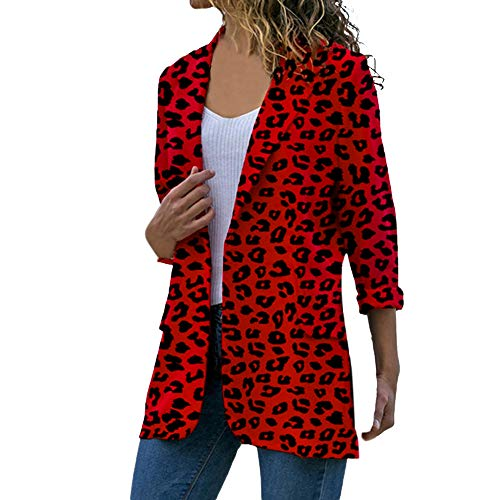 BHYDRY Las Mujeres de Manga Larga Cardigans Abrigo de Leopardo Abierto Frente Chaquetas Outwear Overcoat