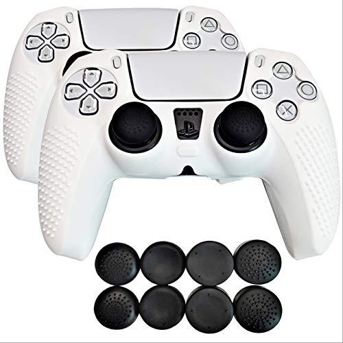 ZEYA Controller-Abdeckung aus medizinischem Silikon für PS5 Csontroller, kompatibel mit Ladestation (weiß)