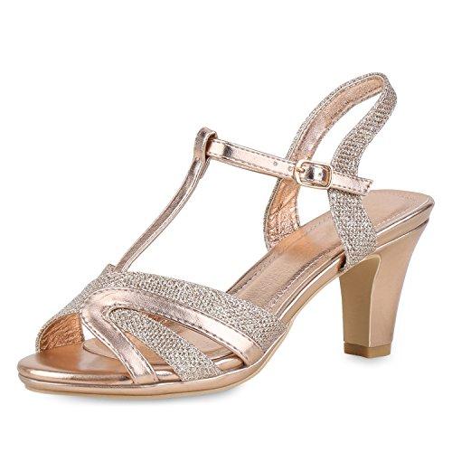 SCARPE VITA Damen Schuhe Riemchensandaletten Metallic Sandaletten High Heels Glitzer 154732 Rose Gold 36