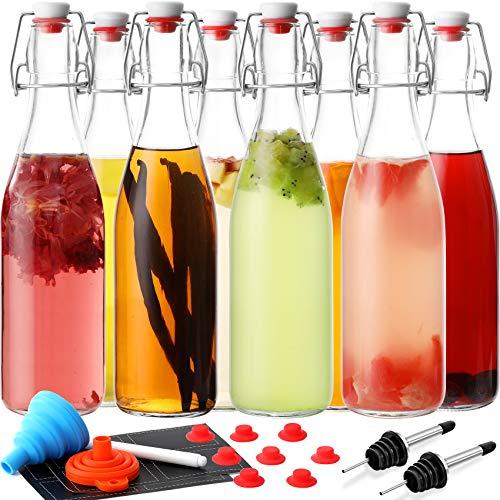 8 PACK Swing Top Glass Bottles - 16 oz Flip Top Beer Brewing Bottles for 2nd Fermentation, Kombucha, Kefir, Vanilla Extract - Display, Gift Bottles for Juice, Tea - Airtight, Bonus 2 Bottle Pourers