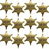 WILLBOND 12 Piezas de Insignia de Sheriff de Metal Broche de Vaquero Occidental Bronce para Halloween Favores de Fiesta Prop de Disfraz