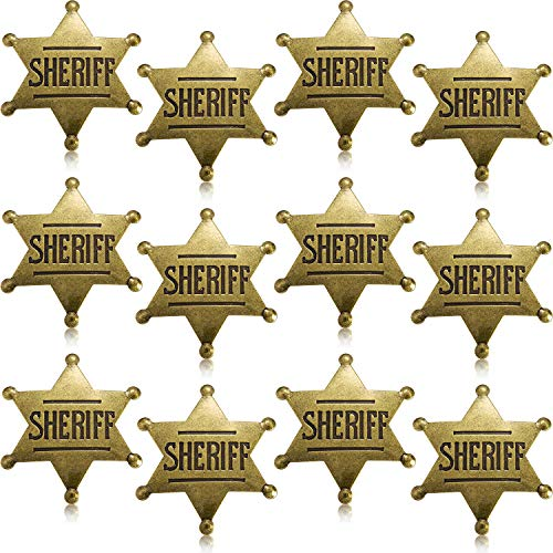 WILLBOND 12 Stücke Metall Sheriff Abzeichen Bronze Western Cowboy Abzeichen Stellvertretender Sheriff Spielzeug Abzeichen für Halloween und Party Gefallen Kostüm Stütze