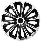 NRM Strong Duocolour - Juego de 4 tapacubos universales (14 pulgadas, color blanco y negro)