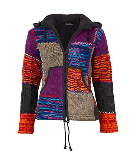 KUNST UND MAGIE Damen Strickjacke Goa Wolle Jacke mit Fleecefutter mit Zipfelkapuze, Größe Damen:38