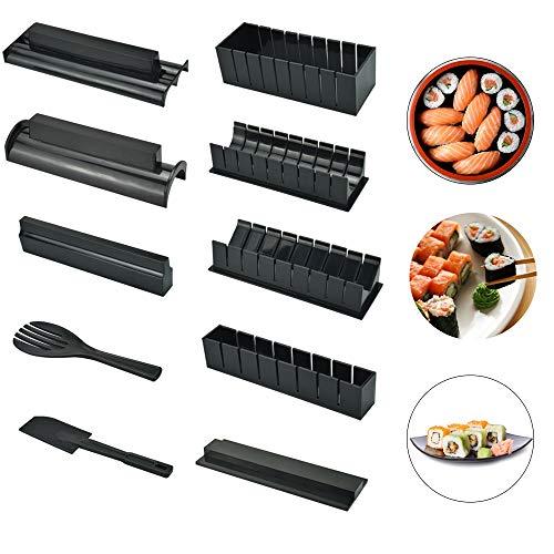 LYTIVAGEN Sushi Maker Kit, AGPTEK 10 TLG Komplett Sushi Making Kit, 5 Formen DIY Selber Sushi Machen Set mit hochwertigem Sushi Messer, Perfekt für Sushi DIY auch als Geschenk
