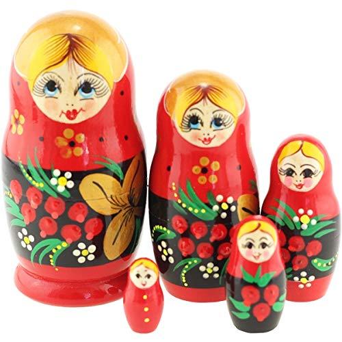 Azhna 5 Stücke Nesting Puppe Klassischen Stil Souvenir Wohnkultur Sammlung Handgemalte Russische Matroschka Puppe 10,5 cm Holz Stapelbar Babushka Puppe (Eberesche)