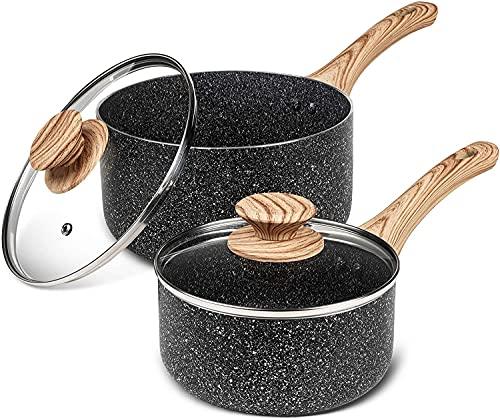 MICHELANGELO Kochtopf-Sets 14cm 18 cm, Stielkasserolle mit Deckel für alle Herdarten außer induktion, kleines Kochtopf-Set, Antihaft-Kochtöpfe, Kochtöpfe mit Deckel, ergonomischer Bakelit-Griff