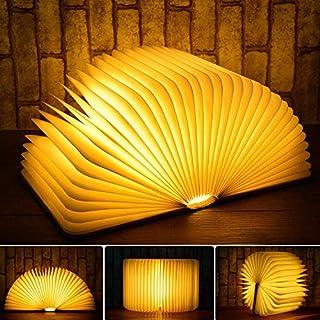 Lámpara LED libro de madera con 800 mAh recargable de litio luz nocturna de luz decorativa de la cubierta de luz blanca cálida