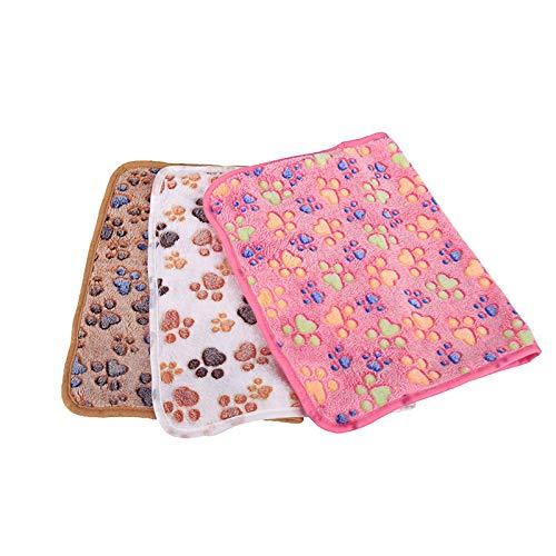 ASR Juego de 3 mantas de fieltro de coral, para perros, gatos, perros, conejos, hámsteres, almohadas, colchoneta, toalla, huella de perro, manta de picnic (largo 100 x 80 cm)