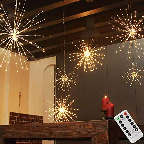 200LED Hanging Sphere Lights, Battery Operated Starburst Lights, 8 Modes Dimmable Remote Control, Waterproof Fairy Lights, Copper Wire Lights, Indoors Outdoors Christmas Decoration (Warm White)