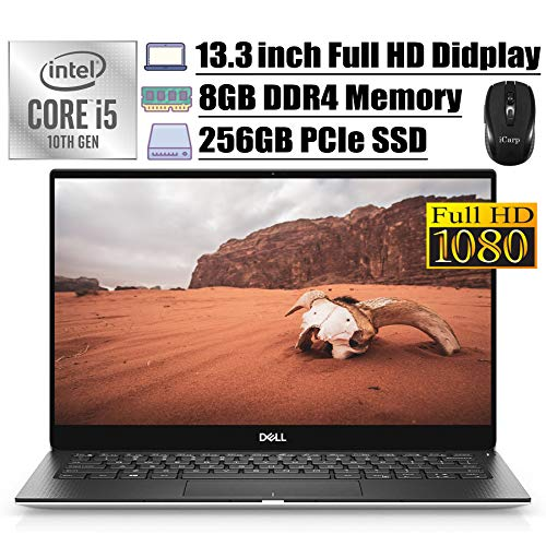 2020 Latest Dell XPS 13 7390 Flagship Laptop Computer 13.3' FHD NT Display Intel Quad-Core i5-10210U (Beats i7-8565U) 8GB DDR4 256GB PCIe SSD Backlit FP Thunderbolt WiFi Win 10 + iCarp Wireless Mouse