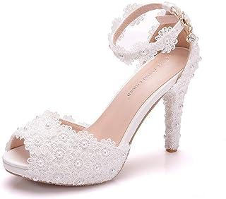 27e27d982 Mujer Tacones Altos Sandalias Perla de Encaje Blanco Plataforma del Dedo  del pie Abierto Zapatos de