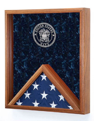 All American Gifts Military Flag & Medal Display Case - for 3'x5' Flag - Shadow Box- w/Laser Engraved Emblem (Navy Engraved Emblem) More Service Emblems Available