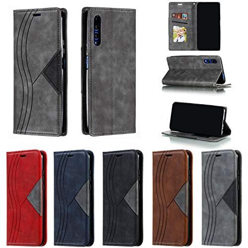 Hülle Handyhülle for Huawei Honor 9X, Premium Leder Flip Schutzhülle [Standfunktion] [Kartenfächer] [Magnetverschluss] lederhülle klapphülle für Huawei Honor 9X - TTYKB040232 Grau