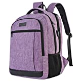 QINOL Travel Laptop Backpack Anti-Theft Work Bookbags With Usb Charging Port, Water Resistant 15.6 Inch College Computer Bag for Men Women (Purple)