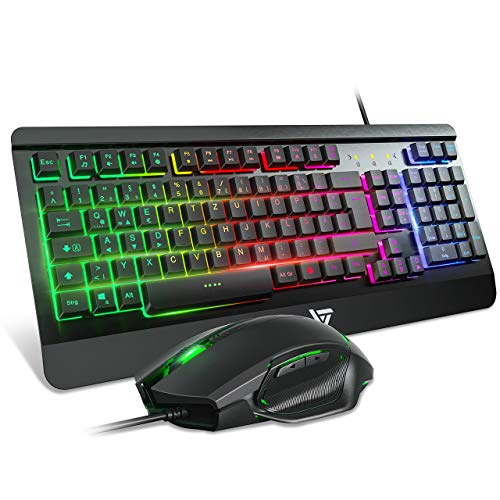 VicTsing Gaming Maus und Tastatur, Maus Tastatur Set LED beleuchtete Regenbogen Metallpaneel, 19 Tasten Anti-Ghosting, Wasserdicht Keyboard, ideal für Gaming und Büro, DE Layout schwarz