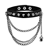 Womens Adjustable Leather Gothic Rivet Spider Chain Pendant Choker Collar Necklace,for Biker Halloween