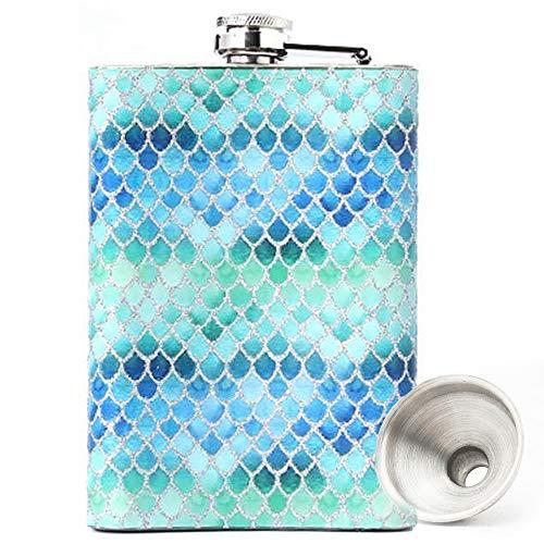 Eauta Meerjungfrau Flachmann aus Edelstahl, 227 ml, für Likör für Frauen, Whiskey-Fläschchen für Frauen, Meerjungfrau-Geschenke für Frauen (blau)