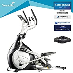 scandika Crosstrainer CardioCross Carbon Pro SF-3200, 23,5 kg Flywheel, low-maintenance brake system via magnetic technology, transport rollers, calorie consumption, time and heart rate measurement (silver)