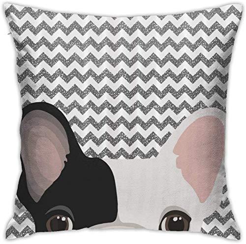 BONRI Fundas de Almohada Decorativas Fundas de Almohada Decorativas para el hogar Funda de cojín Suave con Estampado de Bulldog francés Lindo 18×18inch