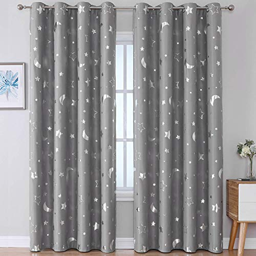 WUBODTI Gray Blackout Window Curtains 84 Inch Long 2 Pack, Grommet Top Silver Star Pattern Room Darkening Noise Reducing Nursery Drapes for Boys Kids Bedroom, 42 x 84 Inch