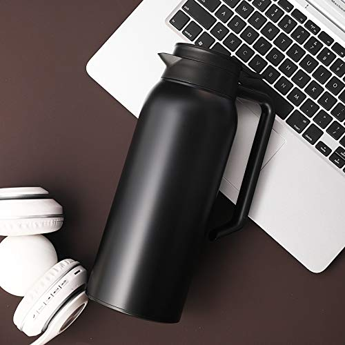 Heliansheng Stainless steel insulation pot, double vacuum kettle, European style coffee pot, cold water bottle -1.5L black-800mL-G082