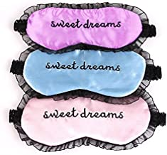 HappyDaily Beautiful Comfortable Sleep Masks - Set of 3 (Sweet Dreams - Pink/Blue/Purple)