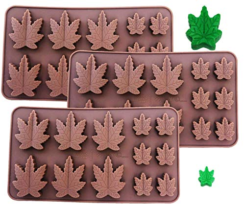 SET OF 3 X Silicone Lollipop Gummy Brownies Hard Candy Cannabis Weed Edible leaf Mold Ice Cube Marijuana Chocolate Soap Candle Tray Party maker (3x Marijuana Mold)