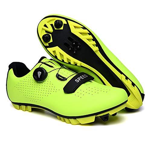 Zapatillas De Ciclismo, Zapatillas De Bicicleta De Montaña Transpirables Y Resistentes Al Viento para Adultos MTB, Zapatillas De Ciclismo con Plantillas Amortiguadoras (41,Verde)