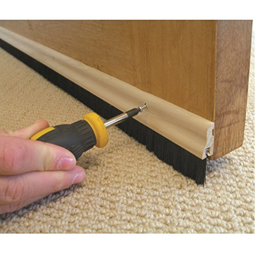 STORMGUARD 02SR0320838WO 838mm Bottom of The Door Brush Strip Draught Excluder-Wood, Black, (2'9')