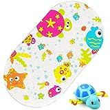 iSagax Badewannenmatte Kinder Badewanneneinlage Baby Bunt Antirutschmatte Badewanne Rutschmatte Badematte Saugnapf Karton Entwurf 39 x 69 cm (Fisch und Schildkröte)