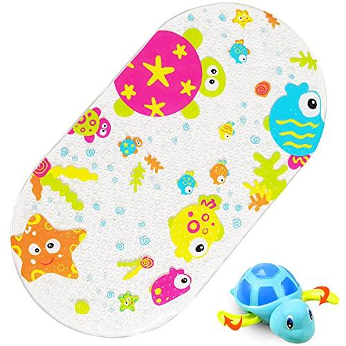 Tappetino Doccia Antiscivolo Bambini Tappeto Vasca Antiscivolo per Il Bagno, con foto vivide e ventose, viene fornito con un giocattolo da bagno, 70 x 38cm