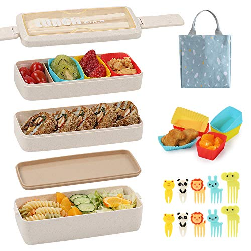 Bento Box for Kids with Silicone Cupcake Baking Cups & Food Picks for Kids,3-In-1 Compartment Lunch Box, Wheat Straw, Eco-Friendly Bento Lunch Box with Dividers Meal Prep Containers for Kids ( Beige)