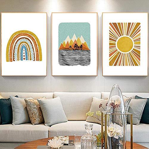 Sun Moon Rainbow Leinwand Poster Boho Style Wandkunst Sunshine Painting Nordische Bilder für Baby Room Nursery Moderne...