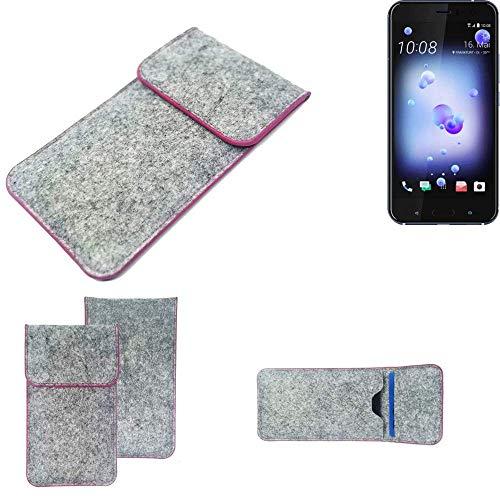 K-S-Trade Handy Schutz Hülle Für HTC U11 Dual-SIM Schutzhülle Handyhülle Filztasche Pouch Tasche Hülle Sleeve Filzhülle Hellgrau Pinker Rand