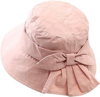 BXW Sombrero de Mujer, Sombrero para el Sol, Sombrero de Pescador de Corea, Color sólido, Arco para Mujer, Sombrero de Pescador, Aire Libre, Viajes,Pink