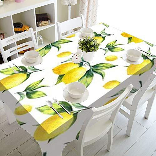 XXDD Mantel Elegante de Acuarela con patrón de limón, Mantel de Hojas de limón Tropical, decoración del hogar Rectangular Impermeable A5 135x180cm