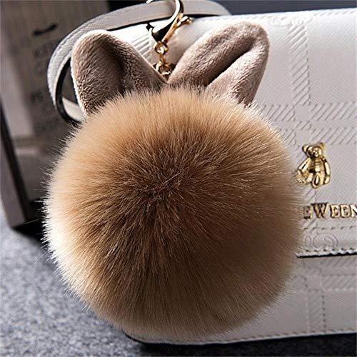 HAILI Keychainsfur Ball Schlüsselanhänger Schlüsselring Pompon Fell Flauschige Tasche Hase Schlüsselanhänger, Kaffee