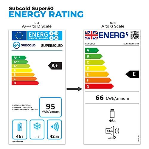 Subcold Super50 LED – Mini Fridge Black | 50L Beer, Wine & Drinks Fridge | LED Light + Lock & Key | Energy Efficient (Black)