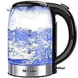 Glas Wasserkocher,1.7 L Glaswasserkocher mit blauer LED-Anzeigelampe, BPA-freier Teekessel mit automatischer Abschaltung und Trocknungsschutz, schnelles Kochen Glas-Wasserkocher