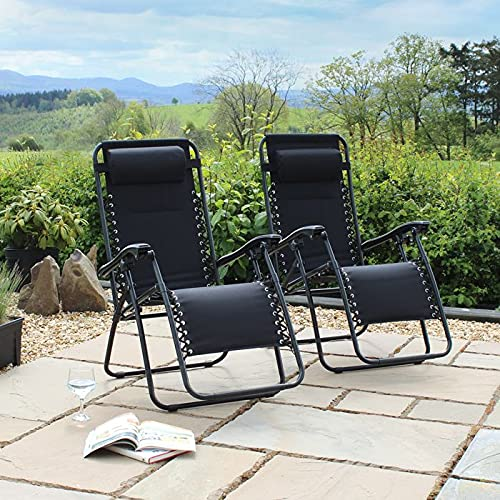 Set of 2 Heavy Duty Textoline Zero Gravity Chairs With Side Table Grey Black Garden Outdoor Patio Sun Loungers Folding Reclining Chairs (Black)