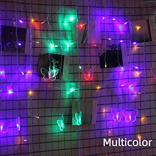 No brand 220 V LED Kerstmis vlinder slinger lichtsnoer gordijn lichten Outdoor Party nieuwe jaren decoratie 4 Mt x 0,65 Mt Eu-stekker multicolor